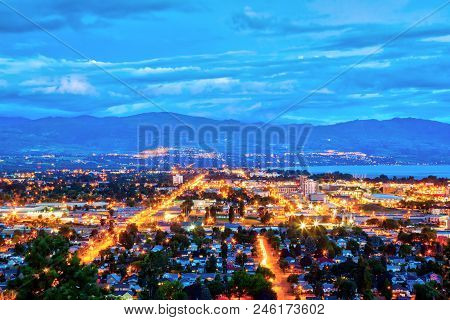 Aerial View Of Kelowna, British Columbia, Just After Sunset On Knox Mountain, Canada, Showing Downto