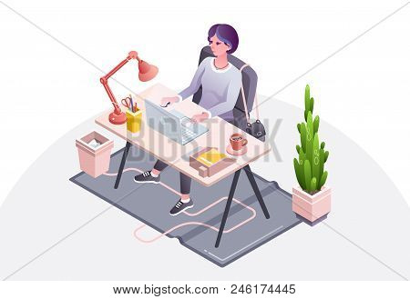 Woman Workplace Vector Illustration Of Businesswoman, Secretary Or Manager Working In Office Sitting