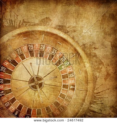 Casino Roulette on the Old Paper Background.