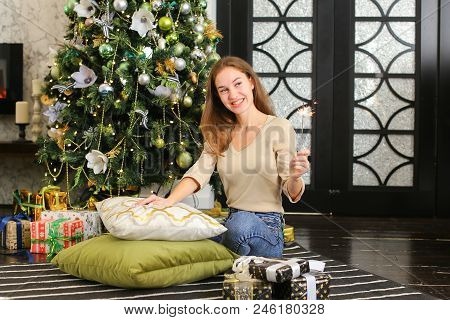 Young Woman Holding Present, Economist Posing For Photo. Attractive Female Sitting Near New Year Tre