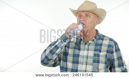 Thirsty Farmer Drinking Water From a Bottle poster