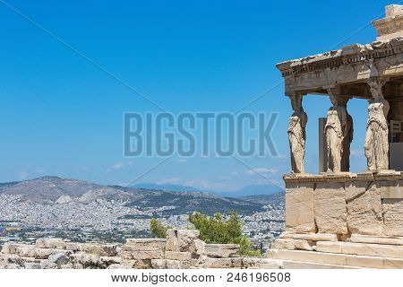 the porch of the Caryatids, The Erechtheum, Acropolis of Athens, Athens, Greece, Europe poster