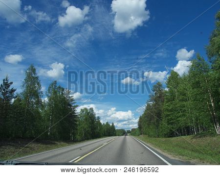 Summer Scenic Road In The North Sweden