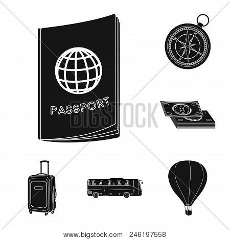 Rest And Travel Black Icons In Set Collection For Design. Transport, Tourism Vector Symbol Stock  Il