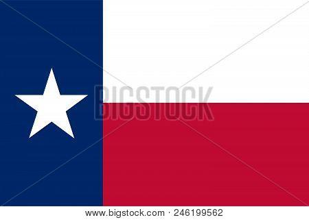United States, Texas State Flag. Vector Illustration.