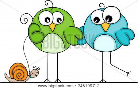 Scalable Vectorial Representing A Couple Of Birds Walking With Snail, Element For Design, Illustrati