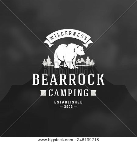Bear Logo Emblem Vector Illustration. Outdoor Adventure Expedition, Bear Head And Forest Silhouettes