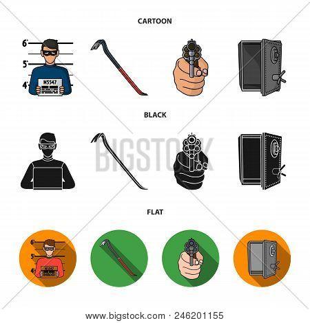 Photo Of Criminal, Scrap, Open Safe, Directional Gun.crime Set Collection Icons In Cartoon, Black, F
