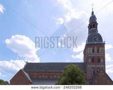 Impressive Church Building In Old Town Of Riga, Latvia