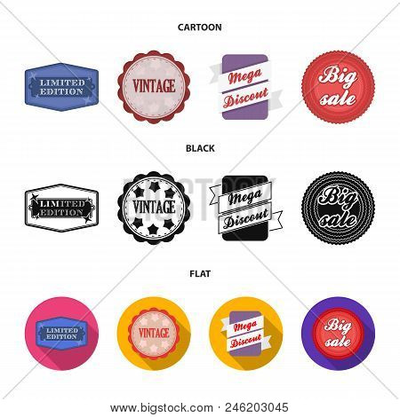 Limited Edition, Vintage, Mega Discont, Dig Sale.label, Set Collection Icons In Cartoon, Black, Flat