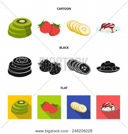Fruits And Other Food. Food Set Collection Icons In Cartoon, Black, Flat Style Vector Symbol Stock I