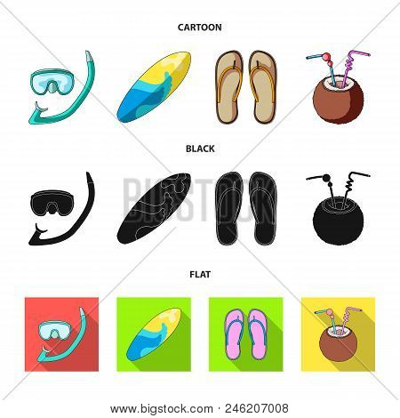 Diving, Surfing, Cocktail.summer Vacation Set Collection Icons In Cartoon, Black, Flat Style Vector