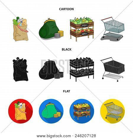 Sausages, Fruit, Cart .supermarket Set Collection Icons In Cartoon, Black, Flat Style Vector Symbol