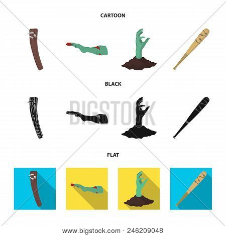 Zombies And Attributes Cartoon, Black, Flat Icons In Set Collection For Design. Dead Man Vector Symb