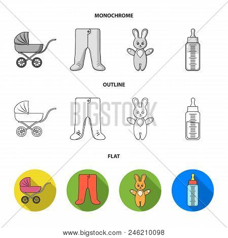 Stroller, Bottle With A Pacifier, Toy, Sliders.baby Born Set Collection Icons In Flat, Outline, Mono