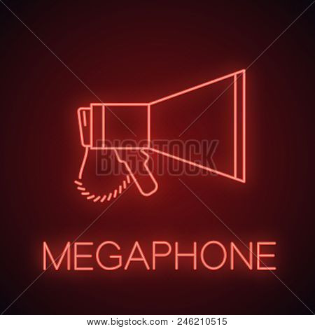 Megaphone Neon Light Icon. Breaking News. Announcement. Bullhorn. Glowing Sign. Vector Isolated Illu