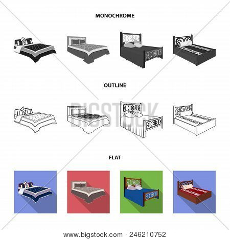 Different Beds Flat, Outline, Monochrome Icons In Set Collection For Design. Furniture For Sleeping