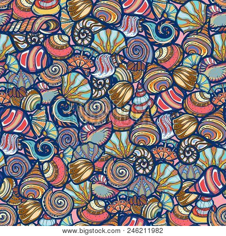 Amazing Floral Vector Seamless Pattern Of Bright Colorful Decorative Shell Seamless Pattern