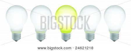 row of electric bulb with one different