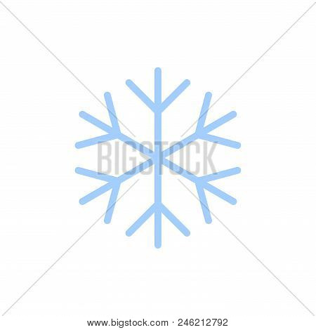Snowflake Icon. Blue Silhouette Snow Flake Sign, Isolated On White Background. Flat Design. Symbol O