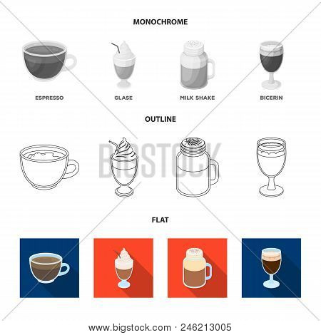 Esprecco, Glase, Milk Shake, Bicerin.different Types Of Coffee Set Collection Icons In Flat, Outline