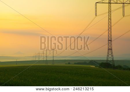 Summer Landscape With Wheat Field And Hazmburk Castle In Central Bohemians  Highlands, Czech Republi