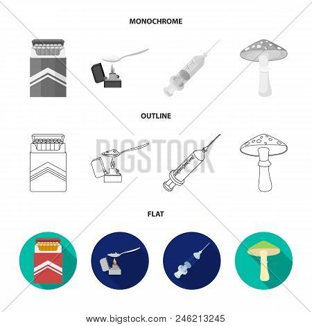 Cigarettes, A Syringe, A Galoyucinogenic Fungus, Heroin In A Spoon.drug Set Collection Icons In Flat