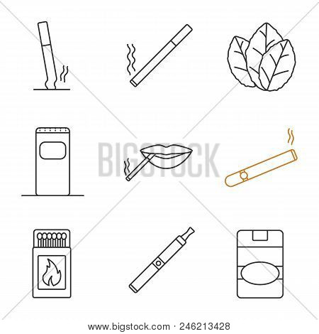 Smoking Linear Icons Set. Stubbed Out And Burning Cigarettes, Tobacco Leaves, Garbage Bin, Smoker, C