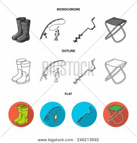 Fishing, Fish, Catch, Fishing Rod .fishing Set Collection Icons In Flat, Outline, Monochrome Style V