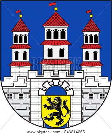 Coat Of Arms Of Freiberg Is A University And Mining Town In The Free State Of Saxony, Germany. It Is