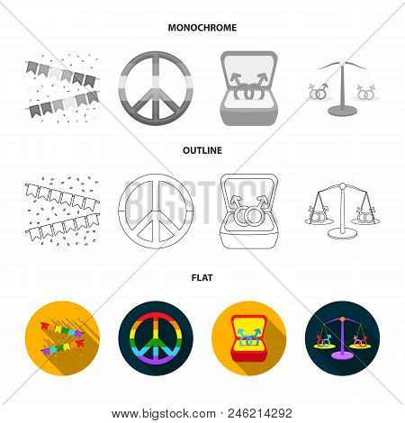 Flags, Rainbow, Emblem, Rings. Gay Set Collection Icons In Flat, Outline, Monochrome Style Vector Sy
