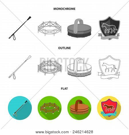 Aviary, Whip, Emblem, Hippodrome .hippodrome And Horse Set Collection Icons In Flat, Outline, Monoch