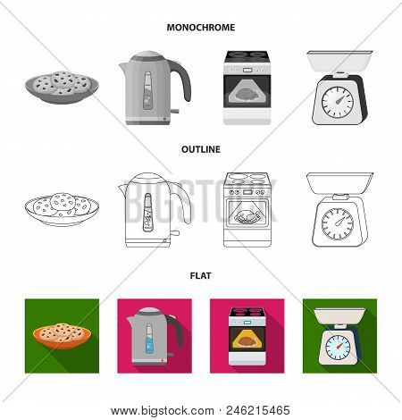 Kitchen Equipment Flat, Outline, Monochrome Icons In Set Collection For Design. Kitchen And Accessor