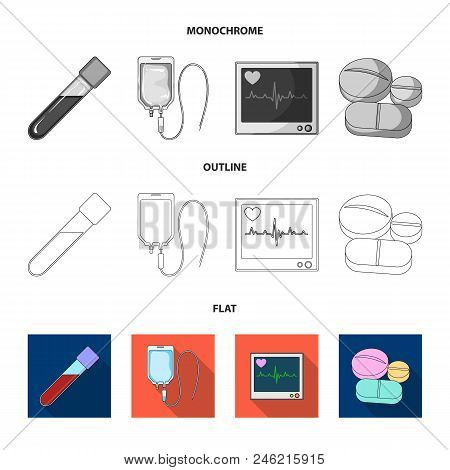 Tablets And Other Equipment.medicine Set Collection Icons In Flat, Outline, Monochrome Style Vector