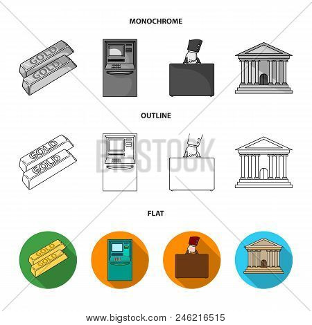 Gold Bars, Atm, Bank Building, A Case With Money. Money And Finance Set Collection Icons In Flat, Ou