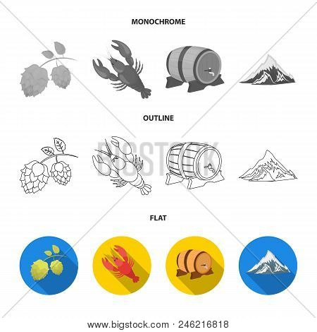 Alps, A Barrel Of Beer, Lobster, Hops. Oktoberfest Set Collection Icons In Flat, Outline, Monochrome