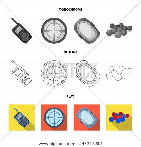 Balls With Paint And Other Equipment. Paintball Single Icon In Flat, Outline, Monochrome Style Vecto
