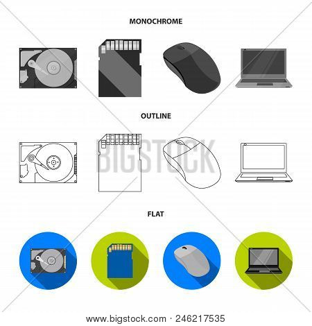 Computer Mouse, Laptop And Other Equipment. Personal Computervset Collection Icons In Flat, Outline,