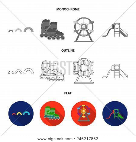 Ferris Wheel With Ladder, Scooter. Playground Set Collection Icons In Flat, Outline, Monochrome Styl