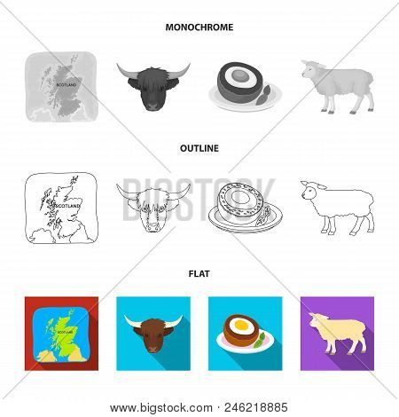 Territory On The Map, Bull Head, Cow, Eggs. Scotland Country Set Collection Icons In Flat, Outline,