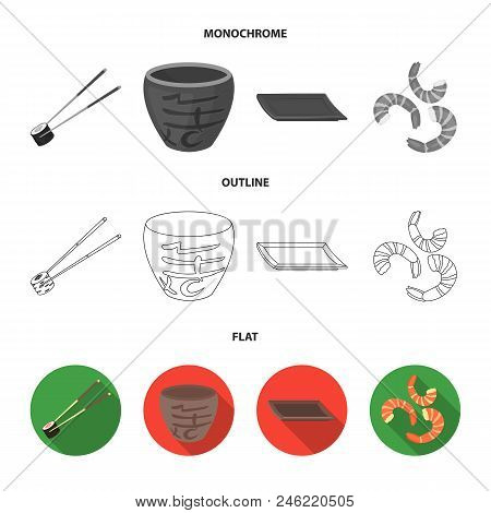 Sticks, Shrimp, Substrate, Bowl.sushi Set Collection Icons In Flat, Outline, Monochrome Style Vector