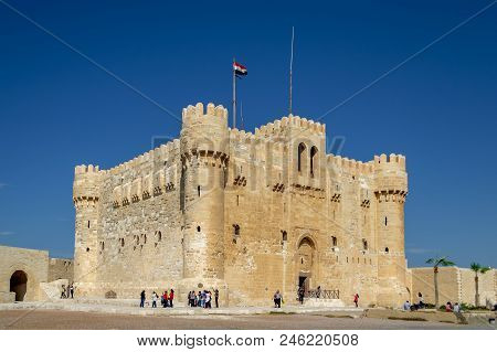 Alexandria, Egypt - October 25, 2012: Citadel Of Qaitbay, A 15th Century Defensive Fortress Located