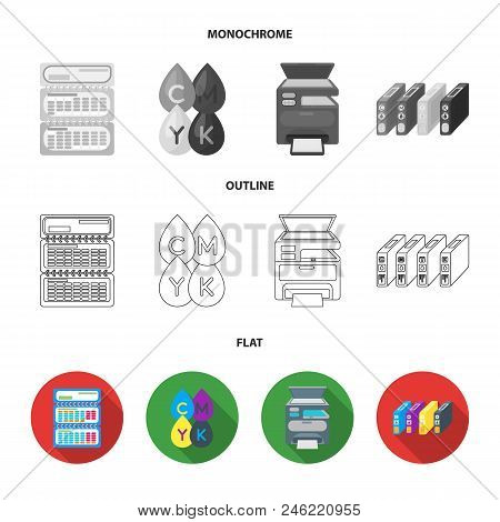 Calendar, Drops Of Paint, Cartridge, Multifunction Printer. Typography Set Collection Icons In Flat,