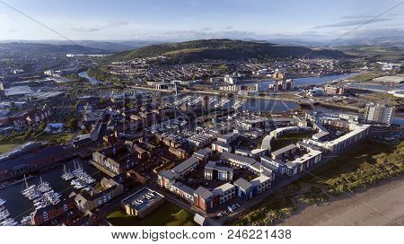 Editorial Swansea, Uk - June 20, 2018: An Aerial View Of The East Side Of Swansea City Showing The N