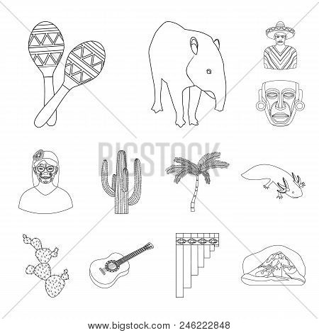 Country Mexico Outline Icons In Set Collection For Design. Mexico And Landmark Vector Symbol Stock