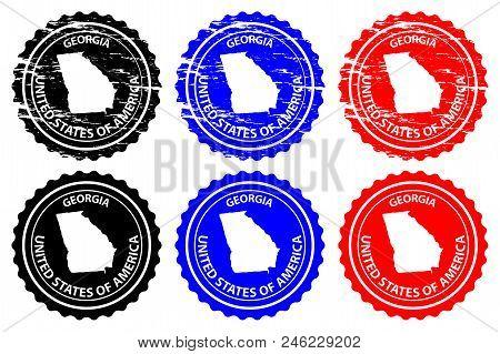 Georgia - Rubber Stamp - Vector, Georgia (united States Of America) Map Pattern - Sticker - Black, B