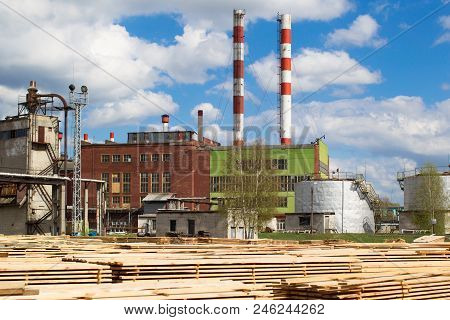Woodworking Plant. Wood Processing Industry.factory For Furniture Production With Pre-processed Wood