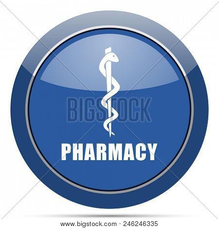 Pharmacy round glossy web icon. Blue circle pushbutton illustration on white background.