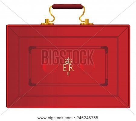 The Red Case As Displayed By The Uk Chancellor Of The Exchequer During A New Budget Ober A White Bac