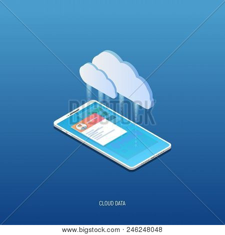 Isometric Mobile Phone Connected To Cloud Storage Server Cloud Icon. Personal Information, Social Si